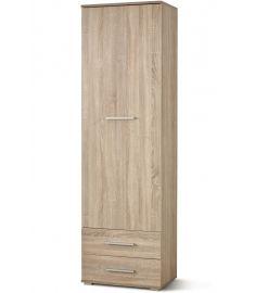 LIMA 1 ajtós, 2 fiókos keskeny ruhásszekrény, sonoma tölgy színű, 60x40x200 cm HM0273