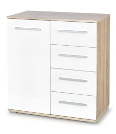 LIMA 1 ajtós, 4 fiókos komód, sonoma tölgy/fehér színű, 77x40x82 cm HM0261