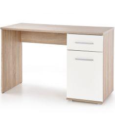 LIMA 1 fiókos, 1 ajtós íróasztal, sonoma tölgy/fehér színű, 120x55x75 cm, HM1697