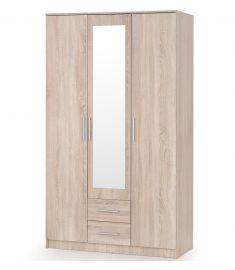 LIMA 3 ajtós, 2 fiókos ruhásszekrény, tükörrel, sonoma tölgy színű, 120x52x205 cm, HM1469