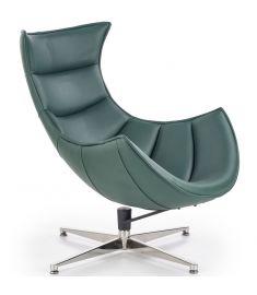 LUXOR fotel, sötétzöld/rozsdamentes acél színű, 76x84x96x36 cm, HM1743