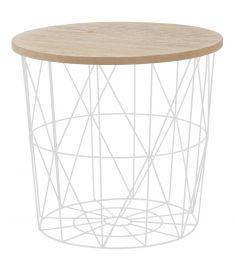 MARIFFA kerek kisasztal, fa/fehér színű, 42x41 cm, HM1496
