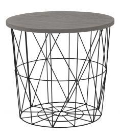 MARIFFA kerek kisasztal, szürke/fekete színű, 42x41 cm, HM1710