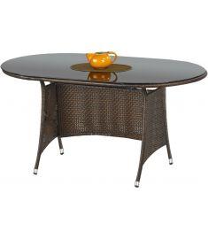MASTER kerti asztal, sötétbarna rattan, fekete üveglappal, 150x90x74 cm HM0837