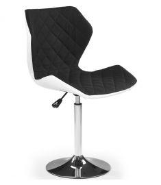 MATRIX bárszék, állítható magasságú, fekete/fehér/króm színű, 48x53x92-104x57-79 cm HM0826