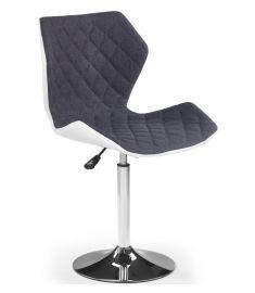 MATRIX bárszék, állítható magasságú, szürke/fehér/króm színű, 48x53x92-104x57-79 cm HM0827