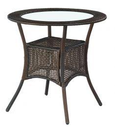MIDAS kerek kerti asztal, sötétbarna rattan, átlátszó üveglappal, 74x74 cm HM0838