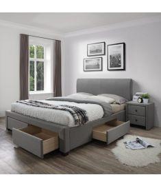 MODENA 140 fiókos franciaágy, ágyráccsal, matrac nélkül, szürke színű, 144x220x106 cm, HM1537
