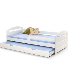 NATALIE kihúzható gyerekágy, matrac nélkül, ágyráccsal, matt fehér, 209x96x68 cm HM0545