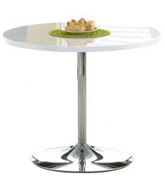 OMAR kerek étkezőasztal, fehér/króm színű, 90x75 cm HM0068