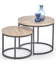 OREO 2 részes dohányzóasztal, san remo tölgy/fekete színű, 43x35;53x45 cm, HM1508