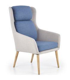PURIO fotel, fa lábakkal, világosszürke/kék színű, 67x75x103x42 cm, HM1745