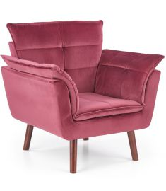 REZZO fotel, fa lábakkal, bordó/sötét dió színű, 80x73x84x44 cm, HM1573