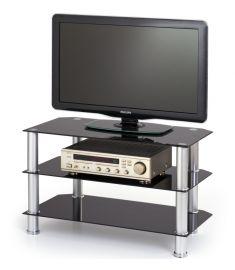 RTV-21 TV állvány, fekete üveg/rozsdamentes acél, 80x40x50 cm HM0749