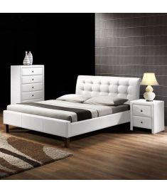 SAMARA 160 franciaágy, matrac nélkül, ágyráccsal, fehér, 164x216x96 cm HM0596