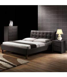 SAMARA 160 franciaágy, matrac nélkül, ágyráccsal, fekete, 164x216x96 cm HM0595
