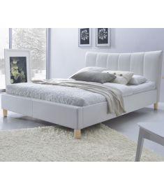 SANDY 160 franciaágy, matrac nélkül, ágyráccsal, fehér/bükkfa színű, 174x217x100 cm HM0597