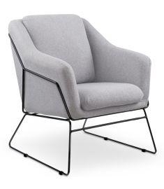SOFT fotel, fém lábakkal, világosszürke színű, 69x76x81x46 cm, HM1574