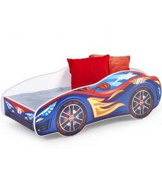 SPEED gyerekágy matraccal, ágyráccsal, versenyautó mintás, 151x75x55 cm HM0556