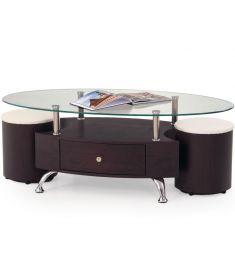 STELLA 1 fiókos, üveglapos dohányzóasztal puffokkal, wenge színű, 120x65x44 cm HM0495