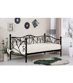 SUMATRA 90 ágy, matrac nélkül, ágyráccsal, fekete, 99x210x89 cm HM0600
