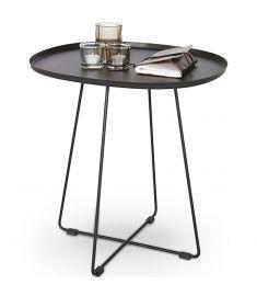TINA kerti kisasztal, fekete fém, 50x42x51 cm HM0841