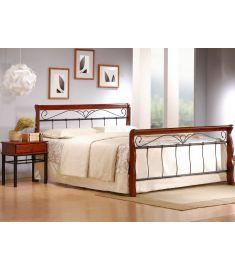 VERONICA 160 franciaágy, matrac nélkül, ágyráccsal, cseresznye/fekete, 163x217x102 cm HM0603