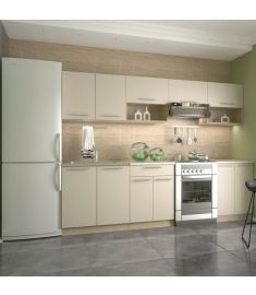 VIOLA konyhabútor, vanília/sonoma tölgy/bézs színű, 260 cm HM0256