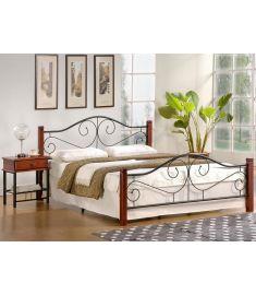 VIOLETTA 140 franciaágy, ágyráccsal, matrac nélkül, cseresznye/fekete, 144x205x89 cm, HM1544