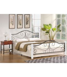 VIOLETTA 160 franciaágy, ágyráccsal, matrac nélkül, fehér/fekete színű, 165x205x89 cm, HM1545