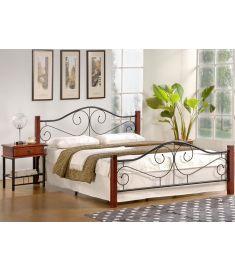 VIOLETTA 160 franciaágy, matrac nélkül, ágyráccsal, cseresznye/fekete, 165x205x89 cm HM0608