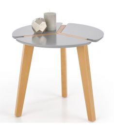 ZETA kerek kisasztal, szürke/bükkfa színű, 50x45 cm, HM1713