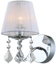 Italux CORNELIA fali lámpa kristály dekorral, E14, 1x60W, króm/fehér