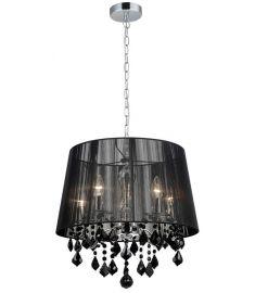 Italux CORNELIA függőlámpa kristály dekorral, E14, 5x40W, króm/fekete