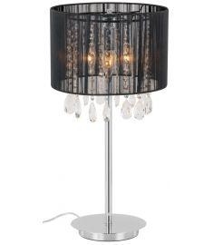 Italux ESSENCE asztali lámpa kristály dekorral, E14, 3x40W, króm/fekete