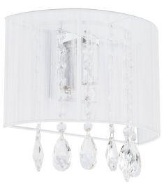 Italux ESSENCE fali lámpa kristály dekorral, E14, 1x40W, króm/fehér