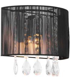 Italux ESSENCE fali lámpa kristály dekorral, E14, 1x40W, króm/fekete