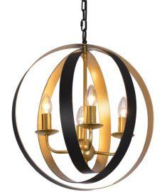 Italux KAIA függőlámpa d50 cm, E14, 4x40W, festett arany/fekete