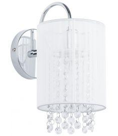 Italux LANA fali lámpa kristály dekorral, E14, 1x40W, króm/fehér