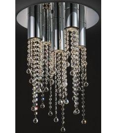 Italux LARIX kerek mennyezeti lámpa kristály dekorral, GU10, 5x35W, króm/ezüst