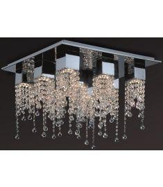 Italux LARIX szögletes mennyezeti lámpa kristály dekorral, GU10, 9x50W, króm/ezüst