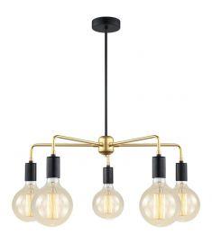 Italux MALENE függőlámpa, d60cm, E27, 5x40W, arany/fekete