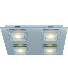 Italux PEPPE mennyezeti LED lámpa, szögletes, LED, 4x5W, króm/átlátszó