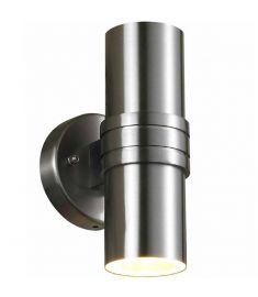 Italux TUBULAR kültéri fali lámpa, GU10, 2x35W, szatén nikkel/átlátszó