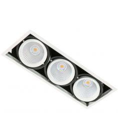 Italux VERTICO trafó nélkül beépíthető spot lámpa, 3000K, LED, 3x18W, fehér/fekete