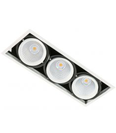 Italux VERTICO trafó nélkül beépíthető spot lámpa, 4000K, LED, 3x18W, fehér/fekete