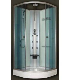 Sanimix íves hidromasszázs zuhanykabin, zuhanytálcával, 90x90x222 cm, 6 jet, ülőke 22.180