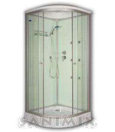 Sanimix íves hidromasszázs zuhanykabin, zuhanytálcával, 90x90x222 cm, fehér 22.1058 WHITE