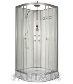 Sanimix íves hidromasszázs zuhanykabin, zuhanytálcával, 90x90x222 cm, fehér, 4 jet 22.181 WHITE
