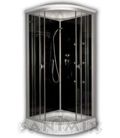 Sanimix íves hidromasszázs zuhanykabin, zuhanytálcával, 90x90x222 cm, fekete 22.1058 BLACK